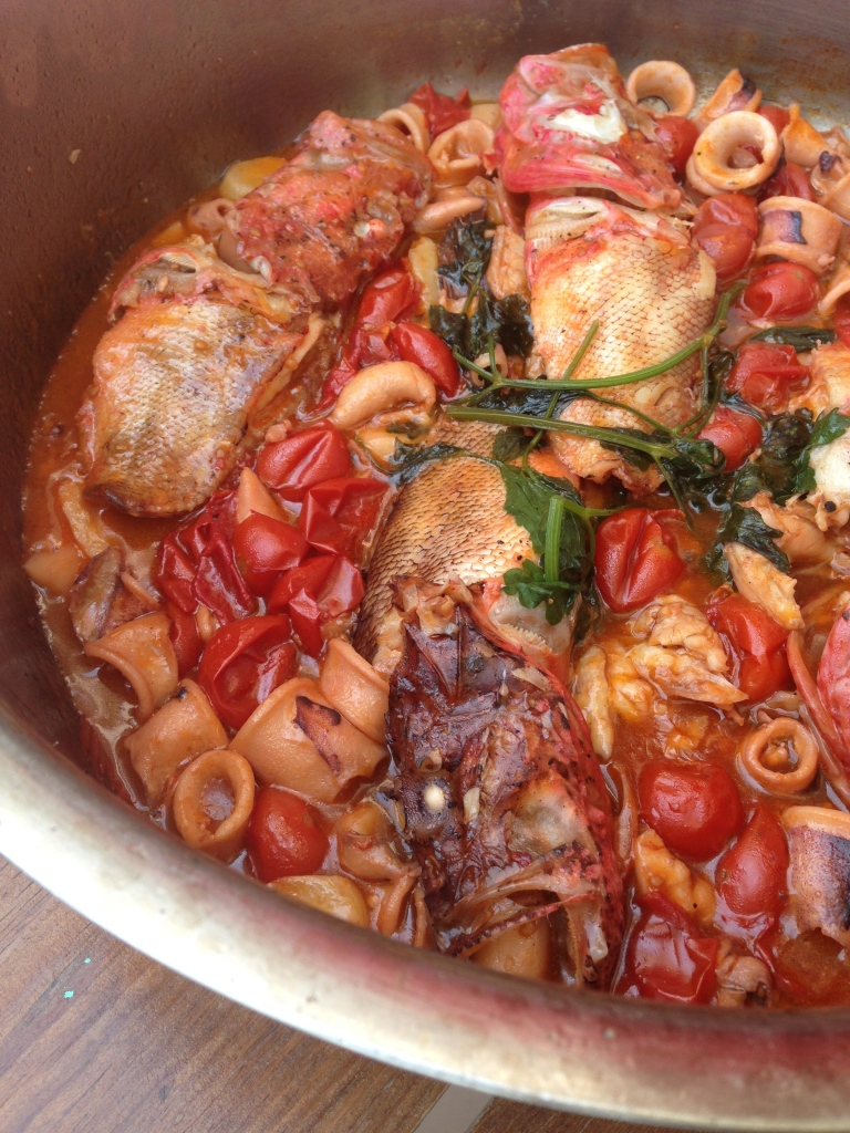 Fischpfanne im Almare - dazu frische Pasta, hmmmm!