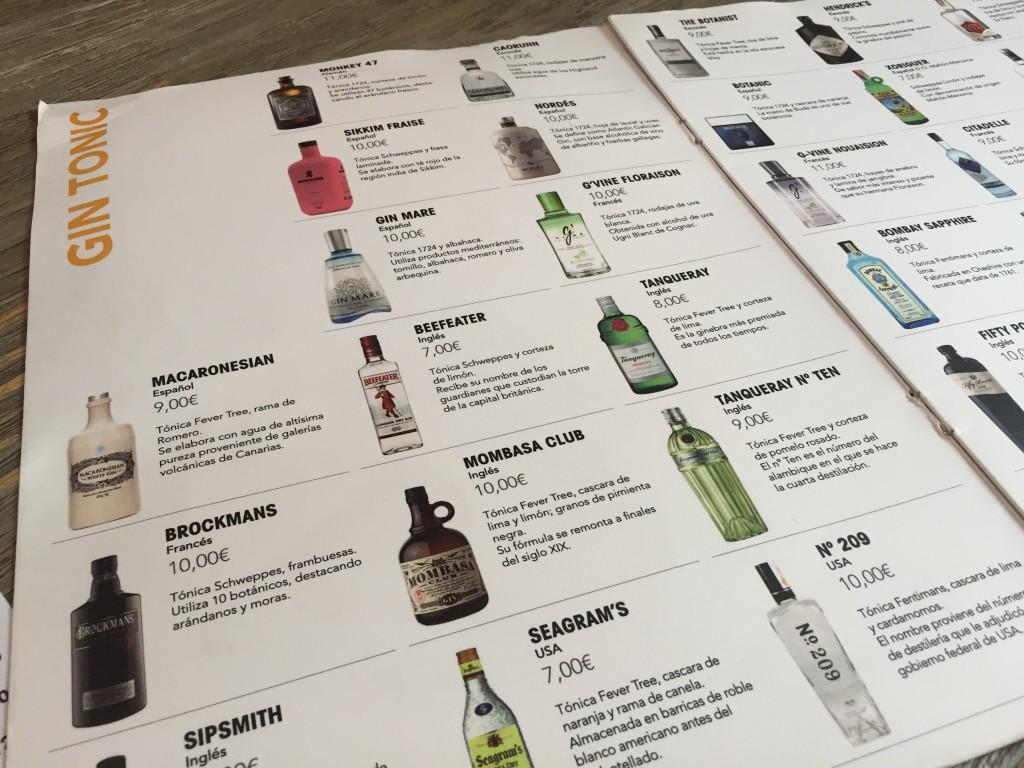 Die Gin-Auswahl im GIN BURGER Mallorca