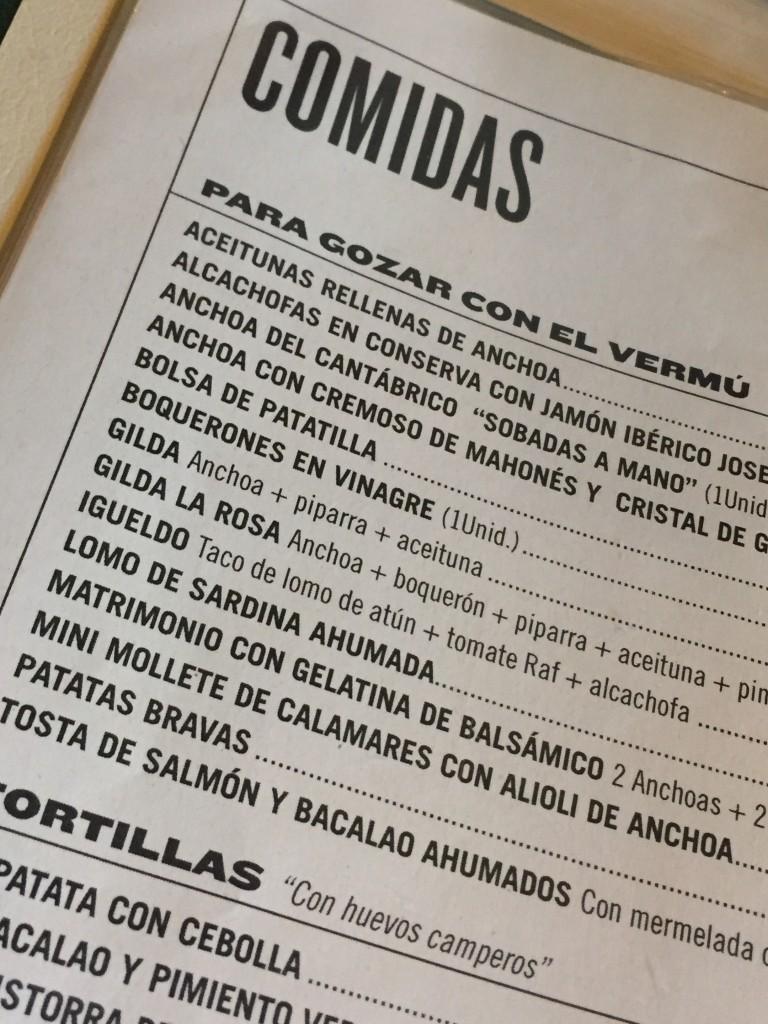 Speisekarte in der La Rosa Vermuteria in Palma de Mallorca