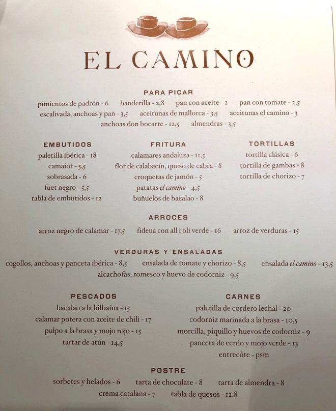 Menü im El Camino in Palma