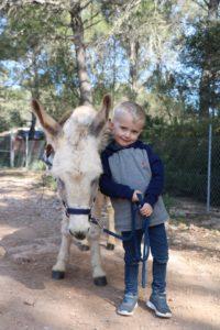 Vincent mit Jesper bei der Eselwanderung auf Mallorca